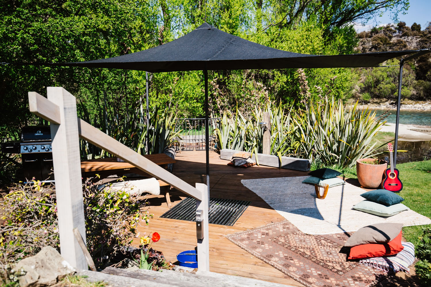 The outside deck area with BBQ at The River House Wanaka