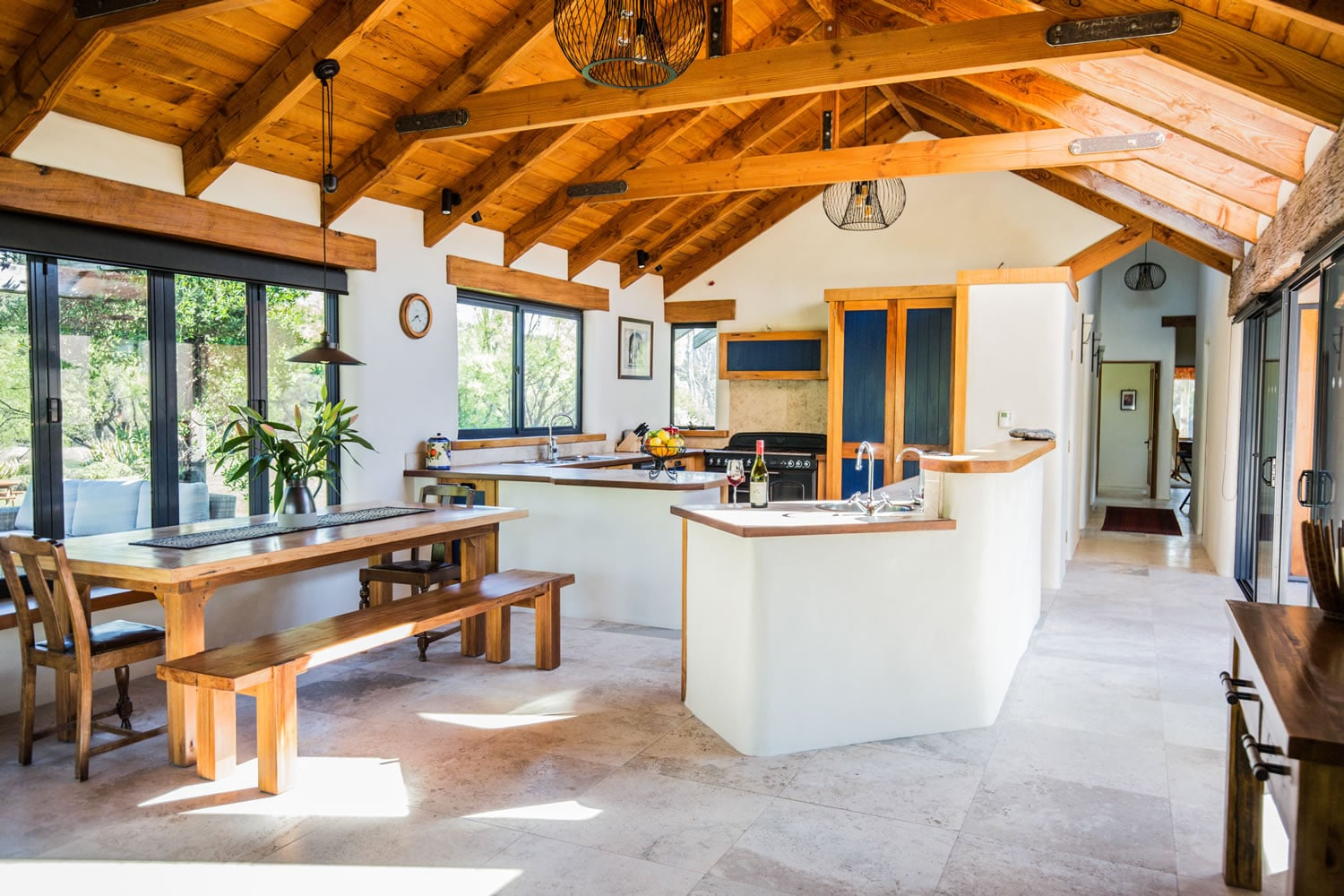 The indoor kitchen area of The River House Wanaka